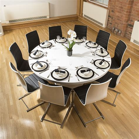 Extra Large Round White Corian Top Dining Table & 10