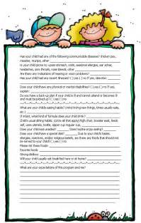 Child Care Enrollment Form Template by All About Me Form