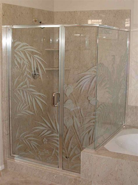 Etched Shower Doors Shower Door Etched Glass Designs