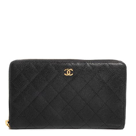 Chanel Zp chanel caviar quilted large zip around wallet black 80031