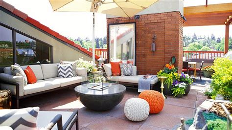orange patio contemporary rooftop deck with orange accents