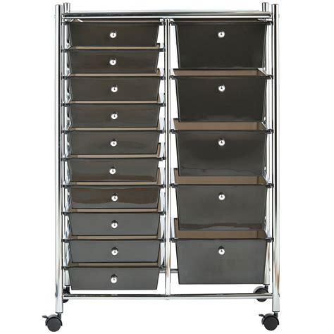 Storage Trolley Drawers by Vonhaus Black 15 Drawer Home Office Salon Make Up Mobile