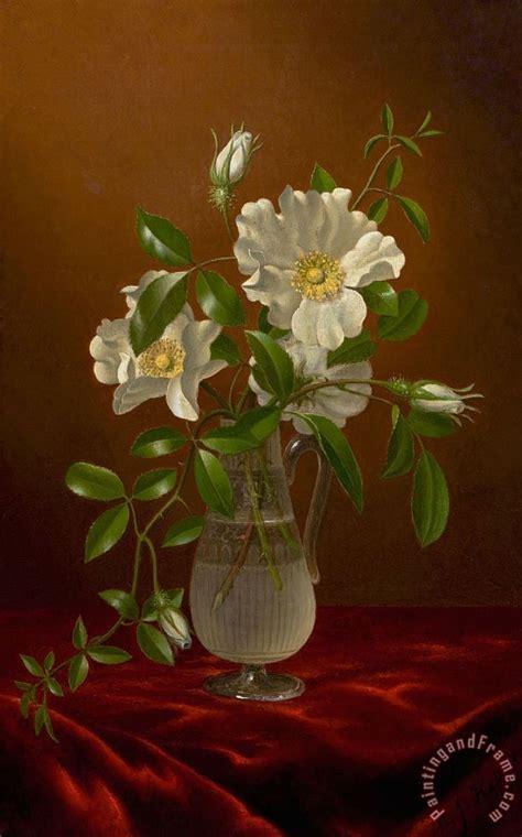 Roses In Glass Vase by Martin Johnson Heade Roses In A Glass Vase