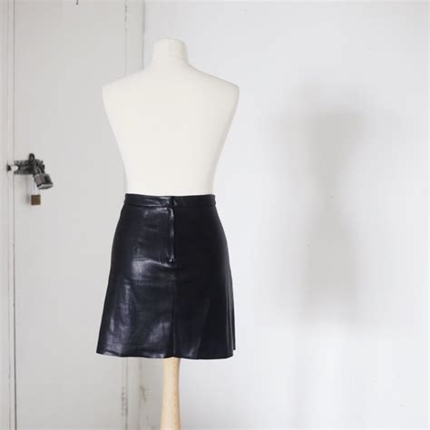 h m faux leather skirt flatering ruby depop