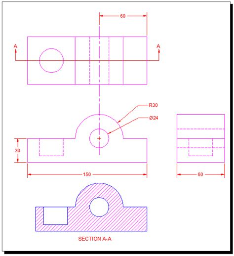 autocad section autocad a b c autocad tutorial 13