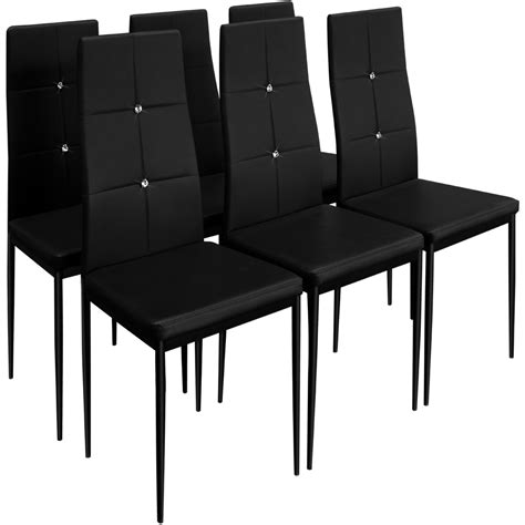 6 Dining Chairs Dining Room Chair Seating Furniture Seats 6 Black Dining Chairs