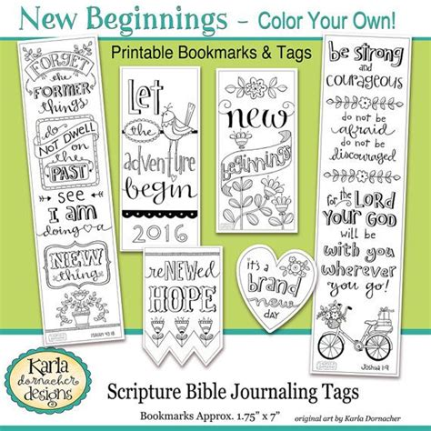 printable journaling tags 2017 new beginnings new year color your own bookmarks