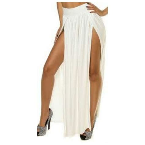 skirt white maxi skirt white slit maxi skirt black