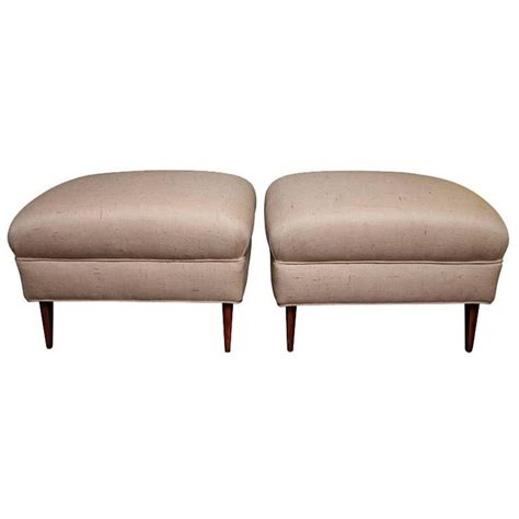 fabric ottomans for sale pair of midcentury ottomans recovered in silk shantung