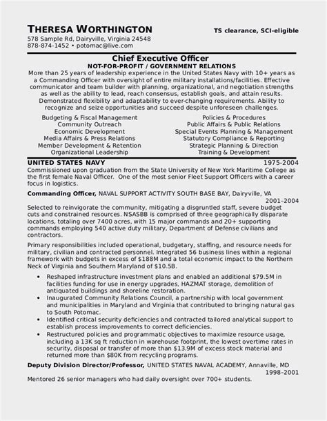 military to civilian resume sle certified resume