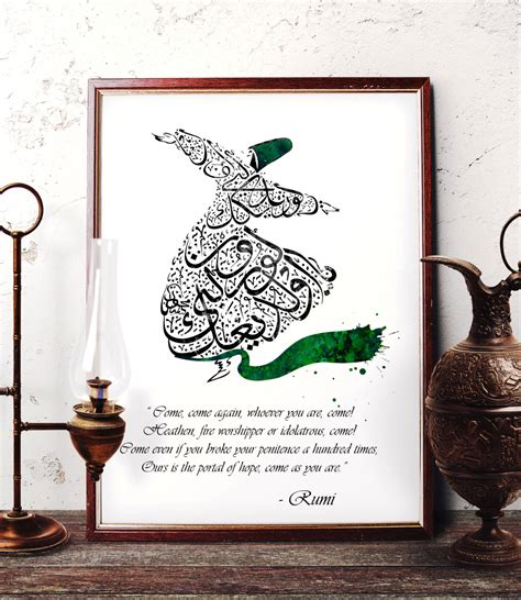 islamic home decor uk rumi quote art sufi home decor islamic calligraphy wall art
