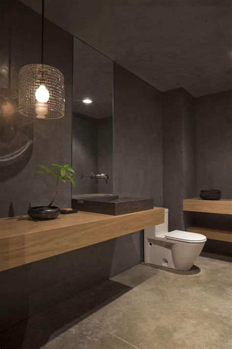 grey bathroom design  mid toned wood homedesignboard