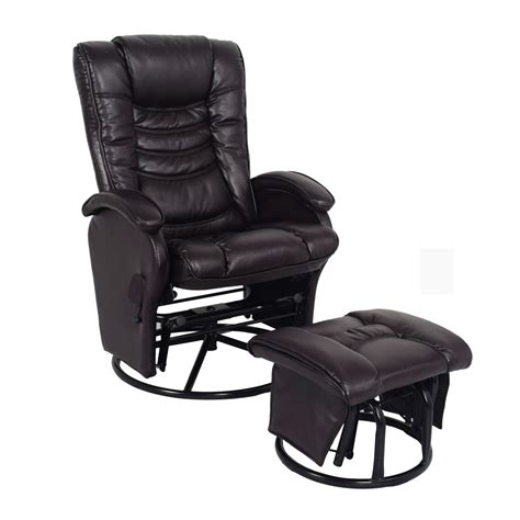 leather glider recliner with ottoman essential home glider recliner with ottoman