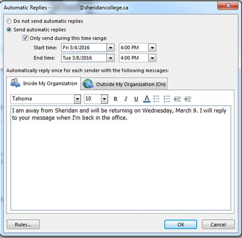Auto Reply automatic reply outlook