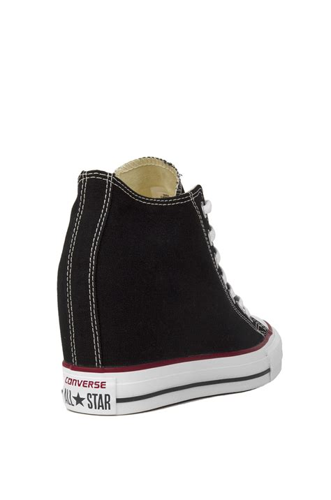 all black sneaker wedges converse s chuck all mid top sneaker