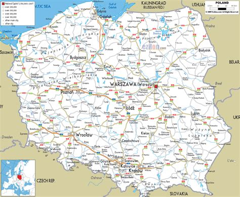 printable road map of europe detailed clear large road map of poland ezilon maps
