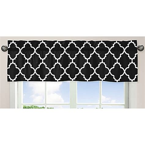 Black And White Lattice Curtains Sweet Jojo Designs Trellis Window Valance In Black And White Bed Bath Beyond