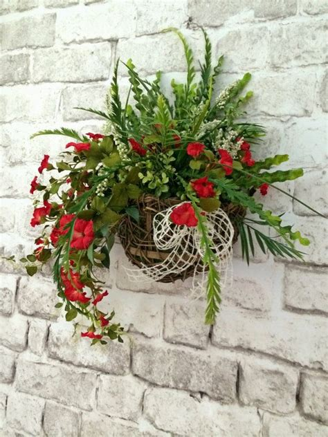 floral wall basket front door decor red silk floral