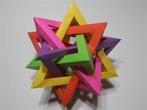 Origami Five Intersecting Tetrahedra - five intersecting tetrahedra 2 by rokte on deviantart