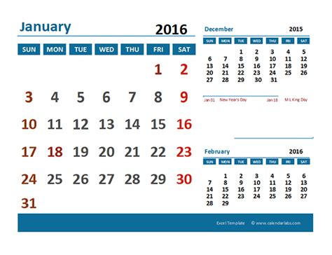 Calendar 2017 Excel With Indian Holidays 2016 Excel Calendar With Holidays Free Printable Templates