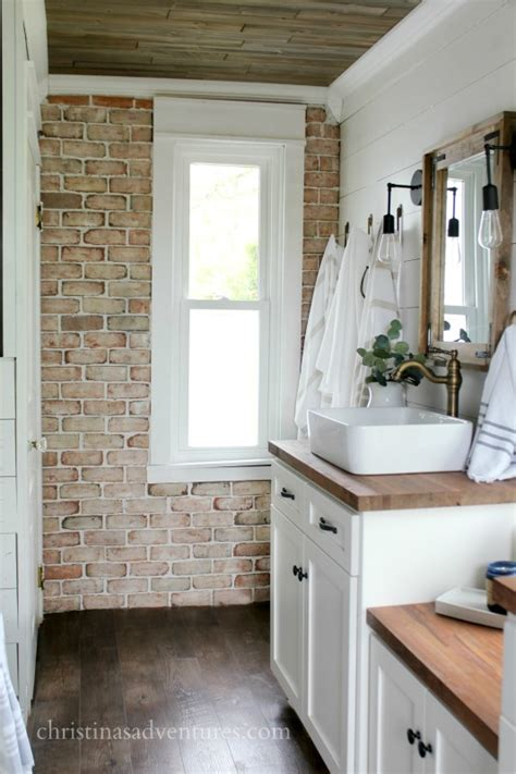 brick in a bathroom how to install brick veneer where to buy it christinas adventures