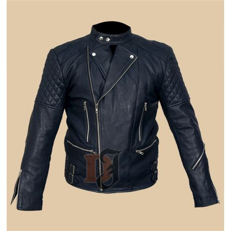 blue motorcycle jacket buy brando classic quilted men s motorcycle blue leather