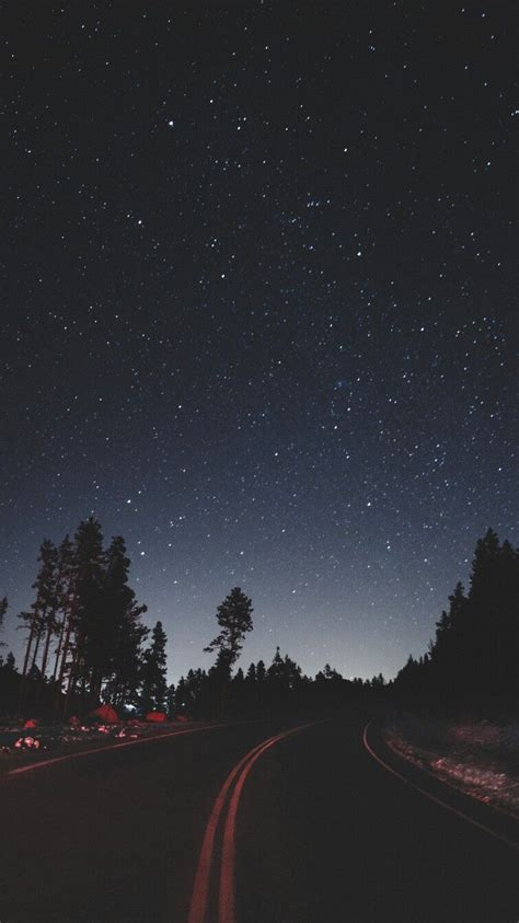 night stars road side camping iphone wallpaper iphone