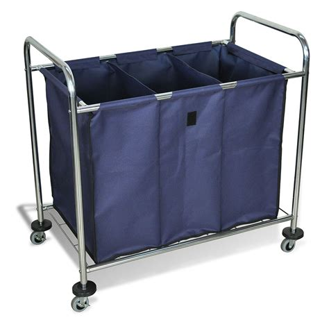 Three Compartment Large Laundry Cart Marketlab Inc 3 Compartment Laundry