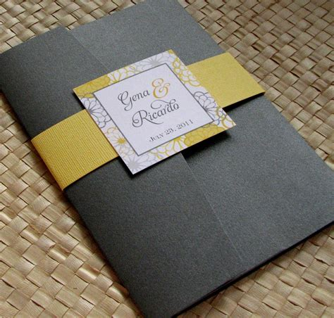 yellow and grey wedding invites reserved listing for andrea pocketfold wedding invitation in
