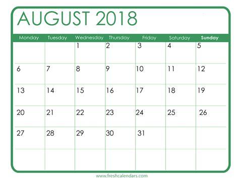 Blank August 2018 Calendar Printable Templates August 2018 Calendar Template