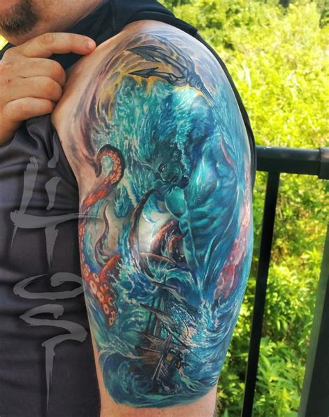 poseidon tattoos poseidon by litos tattoos