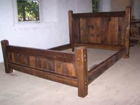 Unique Wooden Bed Frames Buy Crafted Reclaimed Antique Oak Wood Size Rustic Bed Frame With Beveled Posts Made