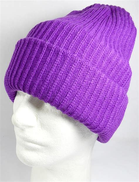 cheap knit hats wholesale winter knit cuff beanie hats solid purple