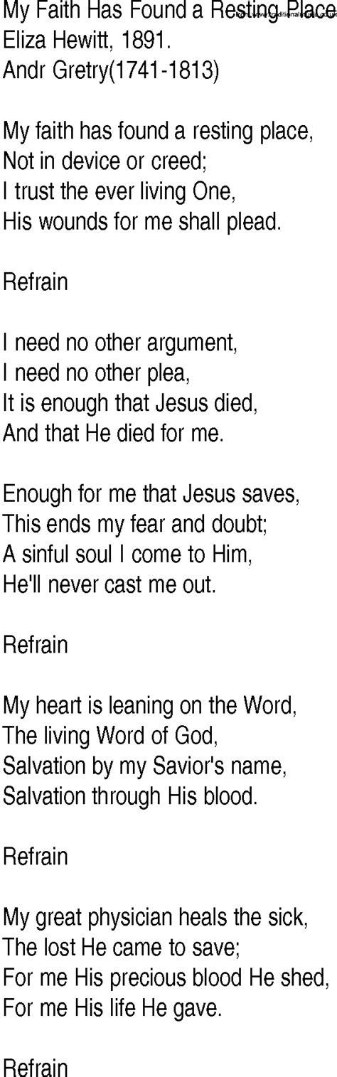 A Place Gospel Lyrics Hymn And Gospel Song Lyrics For My Faith Has Found A Resting Place By Eliza Hewitt