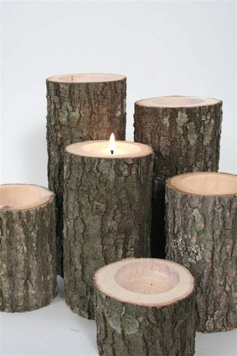 Tree Branch Candle Holders Set Of 6 Rustic Wedding Rustic Candle Centerpieces
