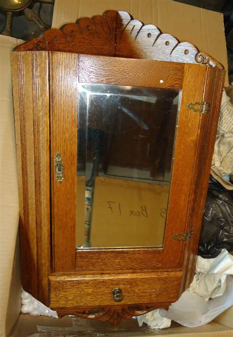 antique oak wall mount medicine cabinet mirror glass rare antique oak corner beveled glass mirror medicine