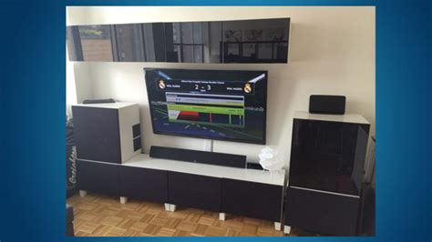 ikea besta parts build a sleek entertainment center with ikea parts and speaker fabric