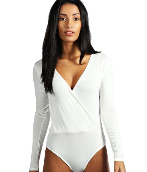 Ex Boohoo White Wrap Front Long Sleeved Leotard Bodysuit Body Top