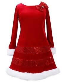 Bonnie jean sequin red bow glitter velvet santa christmas dress girls