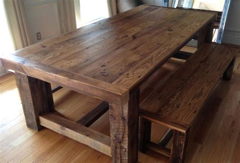 wood dining room table  bench thebestwoodfurniturecom