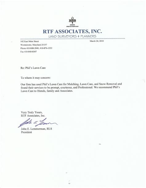 Reference Letter Of Westminster Lawn And Landscape Service Based In Westminster Md Customer Review Of Phil S Lawn Care Letter