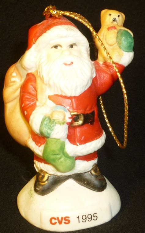 collectible 1985 cvs porcelain christmas tree santa ornament