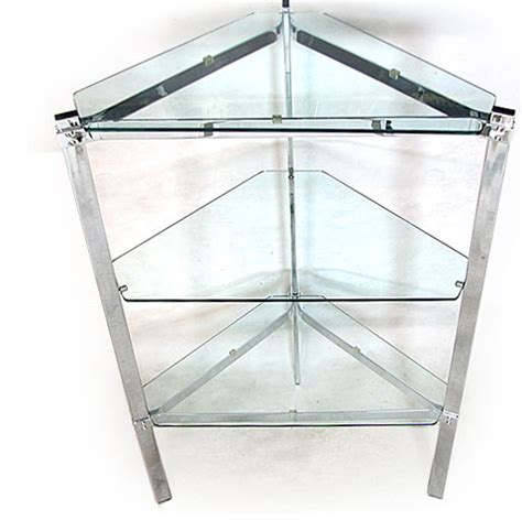 chrome plated steel glass corner shelving unit orange