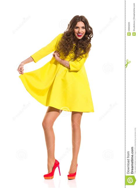 Dress Model Style Impor Yellow Purple Pink look at my new yellow dress stock photo image 53693220