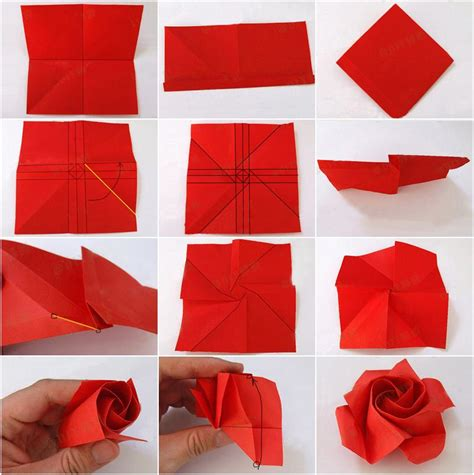 Folded Paper Roses - paper craft ideas d i y origami