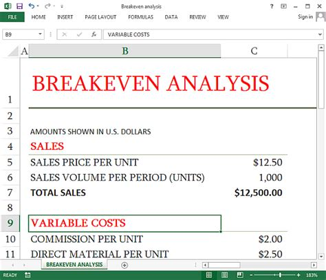 how to create a simple break even analysis using excel