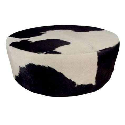Round Cowhide Ottoman Modern Ottomans And Cowhide Ottoman Cowhide Cocktail Ottoman
