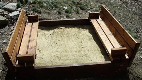 sandbox with folding benches share