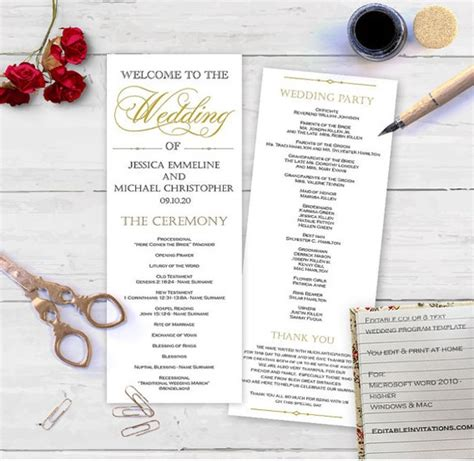 wedding program templates word psd