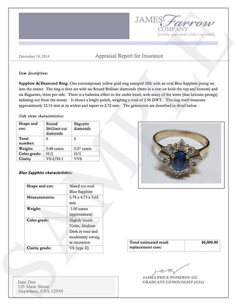 Jewelry Appraisal Letter sle and jewelry appraisals farrow